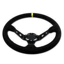 Universal Aluminum 350mm 6-Bolt Suede Fabric Deep Dish Steering Wheel